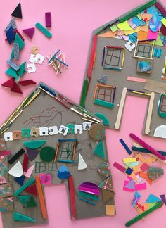 Use cardboard and other found and recycled objects to decorate a house. This activity is great to get the creative juices flowing and to use up odds and ends. Kids Collage, Collage Art, Projects For Kids, Art Projects, Crafts For Kids, Toddler Crafts, Preschool Crafts, Recycled Crafts Kids, Kindergarten Art