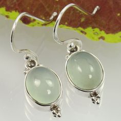 Real AQUA CHALCEDONY Gemstones Girl's Fashion Earrings 925 Solid Sterling Silver #Unbranded #DropDangle