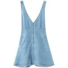 LUCLUC Light Blue V-Neck Denim Dress (€27) ❤ liked on Polyvore featuring dresses, lucluc, overalls, blue dress, blue v neck dress, v neckline dress, v neck dress and vneck dress
