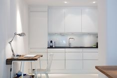 White kitchen + workspace