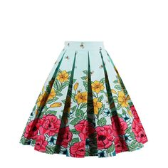 Women's Vintage Floral Print A-line Casual Flared Swing Pleated Midi Skirts,vintage style, knee length, mid length, A-line and high waist skirts, Floral print, zipper in the left side, swing pleated patterns, Various printed patterns for your choice, floral, animal, fruits, ect. Retro and fun.