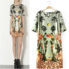 MASTER OF ART 2014 Summer Fashion Women Vintage Dress Tropical Forest Printing O-Neck Short Sleeves ,FreeShipping,04925