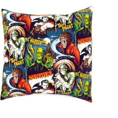 Horror Movie Monsters Pillow Cover Pillow Case 18 X 18 Rockabilly... ($17) ❤ liked on Polyvore featuring home, home decor, throw pillows, decorative pillows, grey, home & living, home décor, movie home decor, gray accent pillows and gray home decor