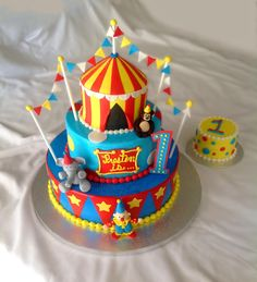 Carnival Cake - Carnival Birthday Cake 8 over cake was blue vanilla with blueberry buttercream filling. Carnival Birthday Cakes, Carnival Cakes, Circus Cakes, Circus Carnival Party, Themed Birthday Cakes, Birthday Cake Girls, 1st Birthday Parties, Circus Wedding, Birthday Ideas
