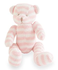 Look at this Pink & White Organic Bear Plush Toy on #zulily today!