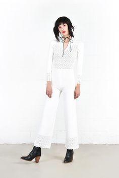 Gretchen Winter White Knit Bell Bottom Jumpsuit   BUSTOWN MODERN