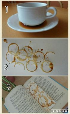 Coffee bookmark DIY - Book and Coffee Cute Crafts, Diy And Crafts, Crafts For Kids, Arts And Crafts, Paper Crafts, Creative Bookmarks, Diy Bookmarks, Book And Coffee, Coffee Coffee