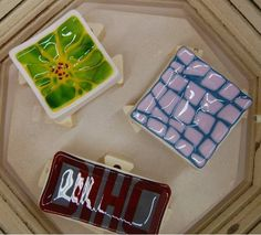 New ways of working with fused glass!  Then they are slumped. Works by Pat A, Kathy A, and Jane P.