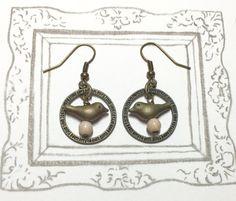 Little Birdies Antique Brass Earrings Bird by earringsgirl on Etsy