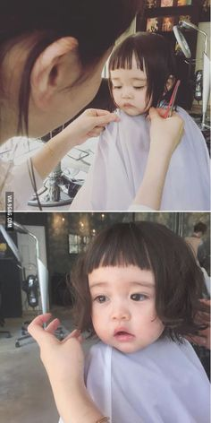 Little girl getting her first haircut