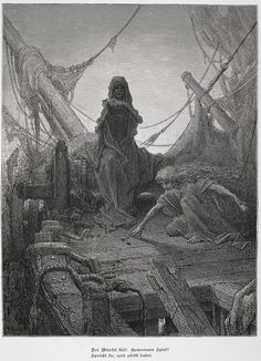 """Gustave Doré (1832-1883), 'Der bürfel fiel' (The Dice Fell), from """"The Rime of the Ancient Mariner"""" by Samuel Taylor Coleridge, 1877"""