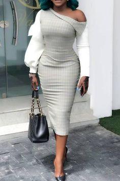 Oblique Collar Long Sleeve Mid-Calf Color Block Standard-Waist Womens Dress Women's Best Online Shopping - Offering Huge Discounts on Dresses, Lingerie , Jumpsuits , Swimwear, Tops and More. Mode Outfits, Chic Outfits, Dress Outfits, Fashion Outfits, Elegant Dresses, Sexy Dresses, Casual Dresses, Dresses For Work, Summer Dresses