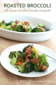 Roasted Broccoli with the most delicious paleo low carb dressing. You will want to put this dressing on EVERYTHING!