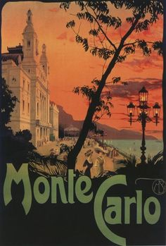 Monte Carlo, Monaco _________________________ #Vintage #Travel #Poster