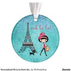 Personalized Oh La La Paris Girl and Cat Ornament