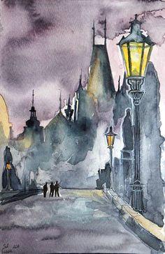 Praque original watercolor