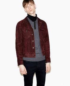 Straight-cut lamb suede jacket - Men - New Collection - The Kooples