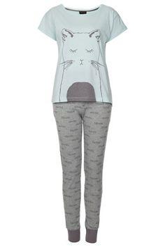 Cat Print Pyjama set. my boyfriend doesn't like cats, but i love this