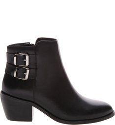 dd0c7fd2f7 Ankle Boots Feminina Ramarim - Preto. Bota Block Heel Fivela Dupla Black