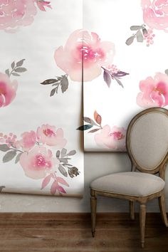 "Pattern Name: Watercolor Floral (WFMR) See something you like? Click here for sample! >>>>>>>>>>>>>> https://www.etsy.com/listing/456701966 <<<<<<<<<<<<<<< • 24"" wide x length of your choice! • Your choice of thick, commercial-grade wall covering with artist-canvas texture or"
