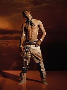 Travis Scott Covers L'Officiel Hommes Italia, Talks Tour Merch Posing for a new photo shoot, Travis Scott goes shirtless in a Palm Angels belt and trousers with an Alexander Wang bandana. Travis Scott Fashion, Kylie Travis, Travis Scott Lyrics, Kylie Jenner, Estilo Jenner, Travis Scott Wallpapers, Estilo Hip Hop, Graphic Design Posters, Phone Backgrounds