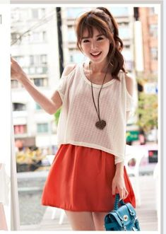 Cute teen drees with baggy white top