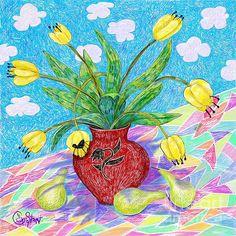 Tulips on Mosaic. Digital Art by Caroline Street.
