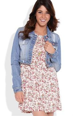 Deb Shops Short Sleeve Babydoll Dress with Small Floral Print $30.00