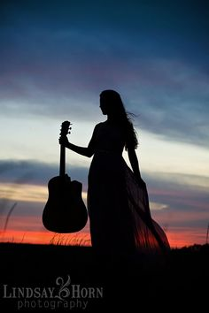 Girl with guitar at sunset Two Pear Designs   High School Senior Portrait Focus   Lindsay Horn ...