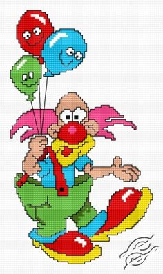 Cross Stitch clown free pattern