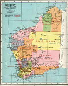 Australia map, Western Australia Map, Perth, Australia via Etsy Perth Western Australia, Perth Australia, Australia Travel, Travel Oz, Family Tree Art, Road Trip Map, School Scrapbook, Kings Park, Old Maps