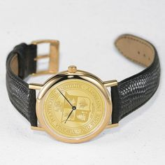 Virginia Tech Men's Swiss Watch - Gold Medallion with Leather Strap by M.LaHart