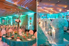 Centerpieces, Tablescapes, Wedding Design, Wedding Flowers, High and Low Centerpieces, Turquoise and White Wedding Inspirations