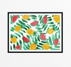 All Fruit Art Print/ Pineapple & Watermelon by EasternCloudStudio