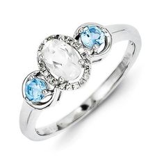Sterling Silver White Topaz Blue Topaz Diamond Ring