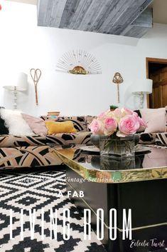living room, vintage sectional, aqua concrete floors, basement, family, lounge, home, decor, interiors, boho, bohemian