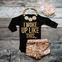 Baby Girl Clothes I Woke Up Like This Shirt Sparkle Shirt Glitter Shirt Baby Shower Gift Bodysuit Baby Girl Shirt Baby Gift #38 by ShopVivaLaGlitter on Etsy https://www.etsy.com/listing/243009220/baby-girl-clothes-i-woke-up-like-this