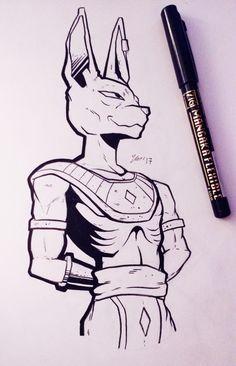 Today's Inktober - Lord Beerus! Badass Drawings, Anime Drawings Sketches, Cartoon Drawings, Naruto Sketch, Anime Sketch, Ball Drawing, Goku Drawing, Dope Cartoon Art, Anime Character Drawing