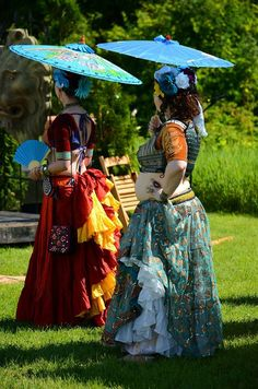 Karina and Sarah of ATS belly dance troupe Shades of Araby at Faery Fest in Guelph, 2014. Photo by Bill Hill.