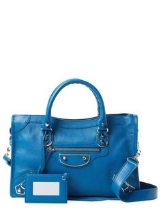 BALENCIAGA WOMEN'S METALLIC EDGE CITY SMALL LEATHER SATCHEL - BLUE. #balenciaga #bags #leather #lining #satchel #metallic #shoulder bags #hand bags #