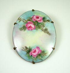 Vintage Victorian Brooch Hand Painted Porcelain by zephyrvintage, $55.00