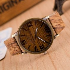 Simulation Wooden Quartz Men Watches Casual Wooden Color Leather Strap Watch Wood Male Wristwatch Relojes Relogio Masculino saat Just look, that`s outstanding!  #shop #beauty #Woman's fashion #Products #Watch