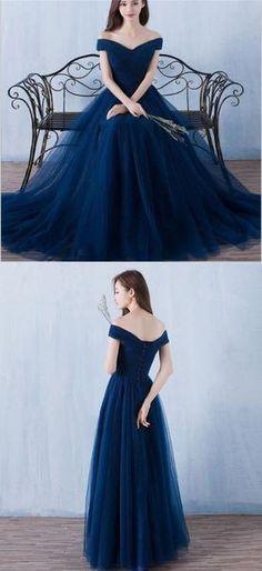 Long Off Shoulder Navy Blue Tulle Simple Popular Bridesmaid Dresses, NDBD0001
