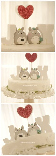 Love TOTORO トトロ bride and groom with the handmade initials letters, sweet heart wedding cake topper, characters wedding cake decoration ideas Wedding Cake Decorations, Wedding Cake Toppers, Wedding Centerpieces, Wedding Cards, Wedding Day, Heart Wedding Cakes, Brides Cake, Wedding Photography Inspiration, Trendy Wedding