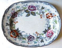 Antique Flow Blue & Polychromed Floral Platter by Wm. Brownfield in SAVONA pattern.