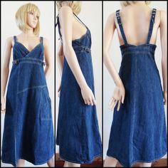 Womans denim midi sun summer dress size by prettyfrenchvintage