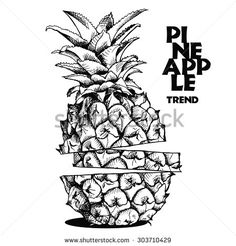 stock-vector-image-slices-of-pineapple-fruit-vector-black-and-white-illustration-303710429.jpg (450×470)