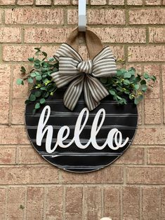 Excited to share this item from my shop: Black Shiplap Style Door Sign, Hello Farmhouse Door Hanger, Black Striped Ribbon, Home Front Door Wreath, Spring Door Hanger Front Door Signs, House Front Door, Front Door Decor, Wreaths For Front Door, Front Doors, Ribbon Wreaths, Yarn Wreaths, Floral Wreaths, Burlap Wreaths