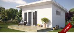 Atterfallshus Enskär Garage House, House Front, Roof Design, Exterior Design, Outdoor Garden Sheds, Sauna House, Tropical Beach Houses, Outdoor Sauna, Casa Loft
