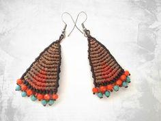 Macrame boho earrings, summer colors